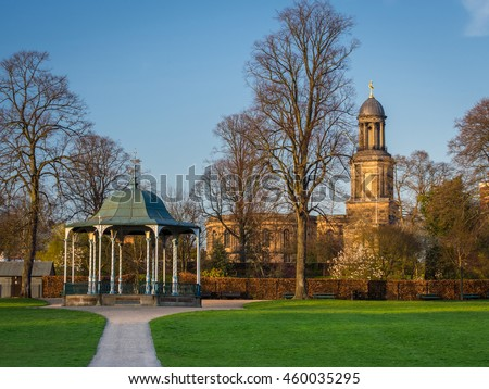 Shrewsbury bandstand in the Quarry park with St. Chads in the background.