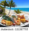 Shrimp baked with sea view - stock photo