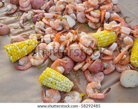 shrimp boil party on table - stock photo