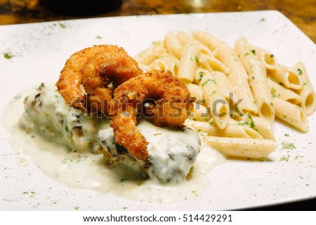 Shrimp breaded with macaroni.