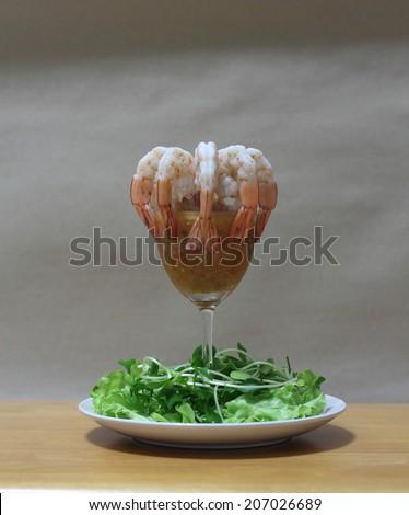 Shrimp cocktail with salsa sauce - stock photo