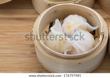 Shrimp dumpling, a very popular Dim Sum in Hong Kong - stock photo