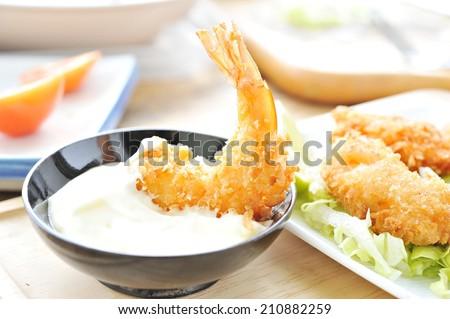 Shrimp Fritter on dish. - stock photo