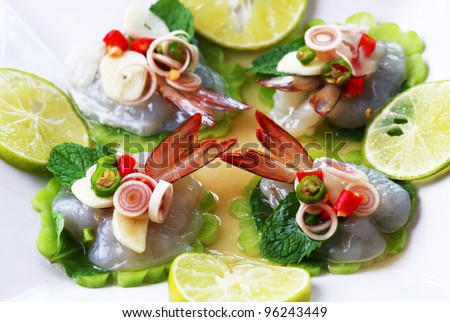 Shrimp in fish sauce Thai sea food - stock photo