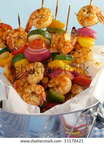 Shrimp Kebab Skewers - stock photo