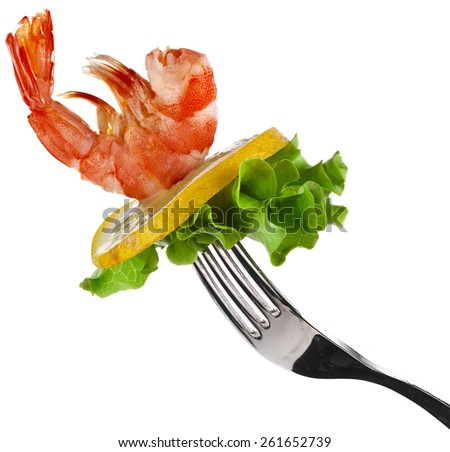 shrimp on fork isolated on white - stock photo