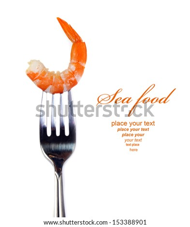 Shrimp on fork isolated with copy space - stock photo