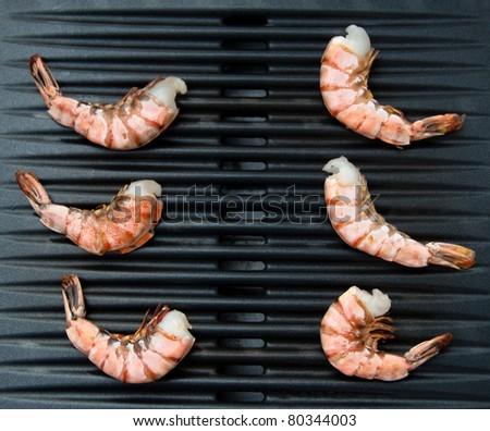 Shrimp On Grill - stock photo