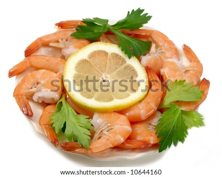 shrimp on the white