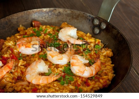shrimp paella  - stock photo