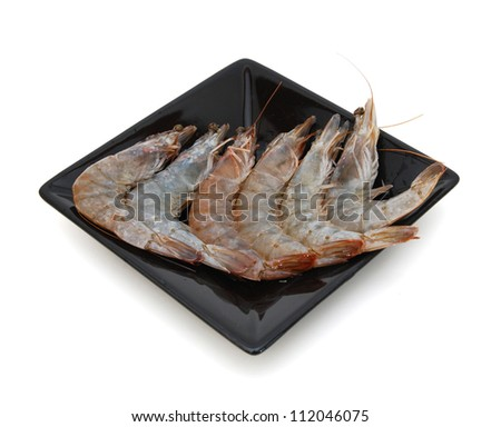 Shrimp place round on white plate isolated on white background.