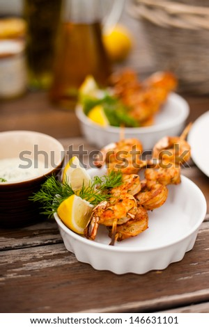 shrimp plate barbecue - stock photo