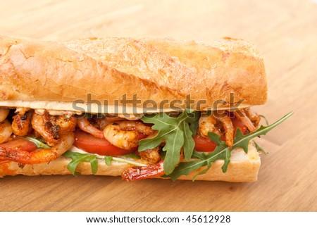 Shrimp Po-Boy sandwich - stock photo