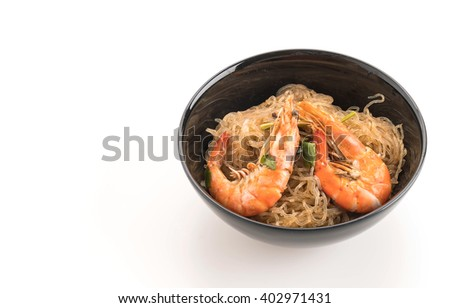 Shrimp potted with vermicelli on white
