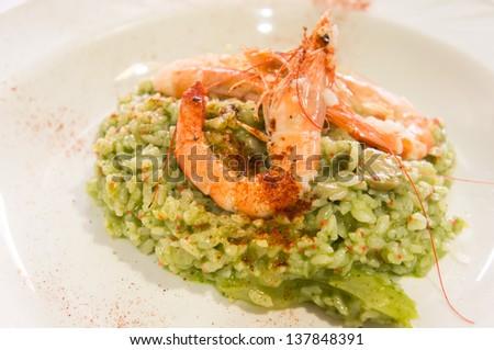 shrimp risotto - stock photo