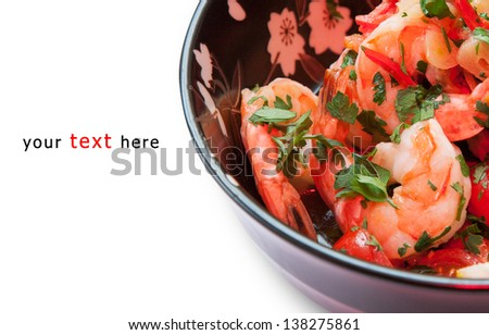 shrimp salad in a Japanese dish