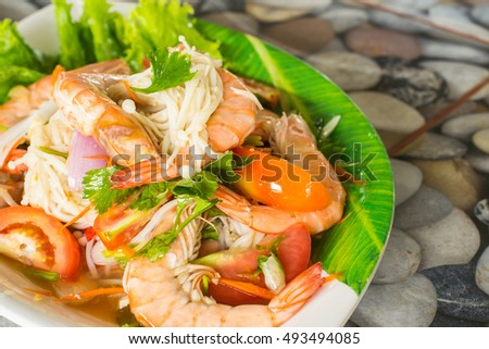 Shrimp salad on a plate in a restaurant