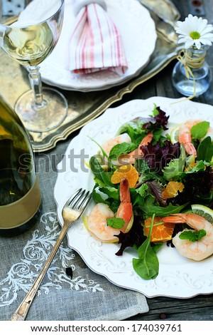 shrimp salad with white wine - stock photo