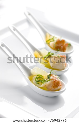 shrimp, seafood, chocolate, onions, a spoon, fruit, delicatessen, restaurant, - stock photo
