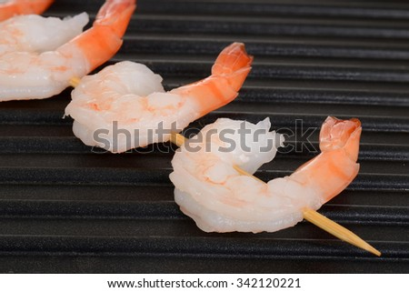 shrimp skewer on grill - stock photo