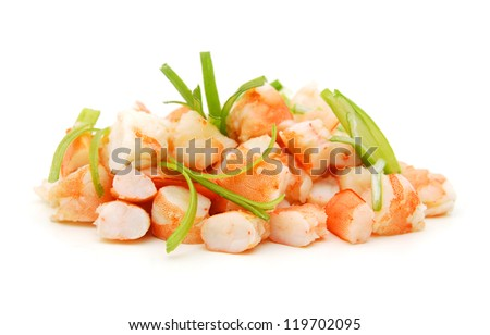 Shrimp slice on white