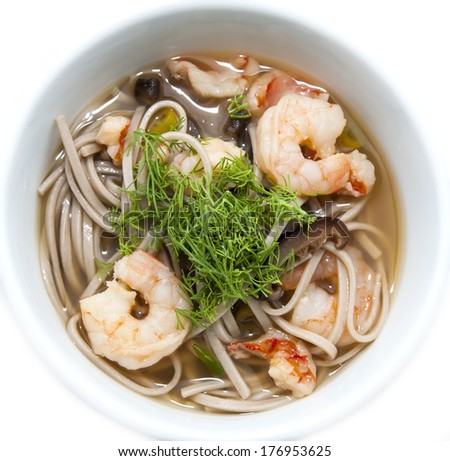 shrimp soup and spaghetti on a white background