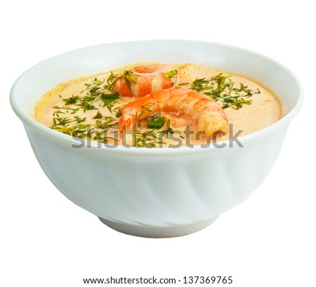 shrimp soup dill bowl isolated on white background clipping path - stock photo