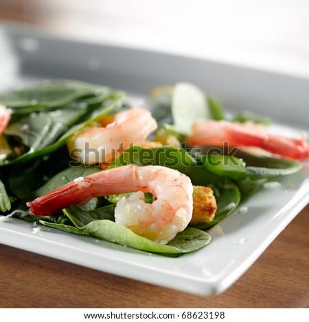 shrimp spinach salad - stock photo