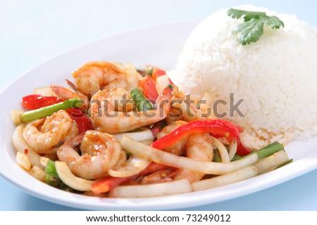 Shrimp Stir Fried with Steam Rice - stock photo