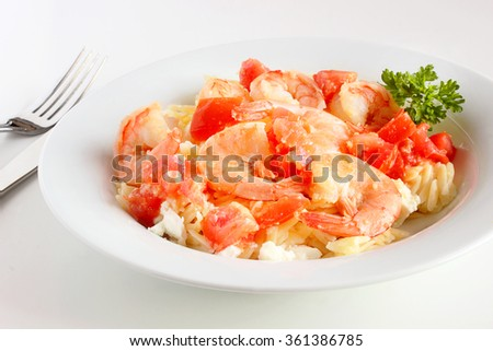 Shrimp with orzo and feta