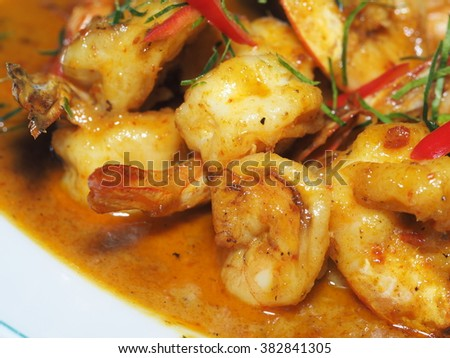Shrimp with Red Curry, Thai's Cuisine