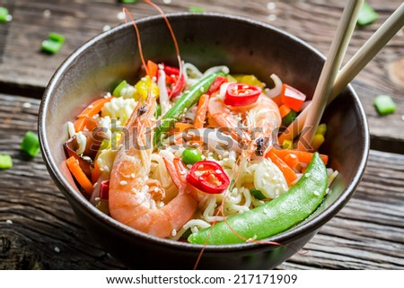 Shrimp with vegetables and noodles - stock photo