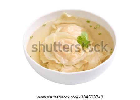 Shrimp wonton soup isolated on white background - stock photo