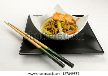 Shrimp Yakisoba, noodles with prawn, traditional chinese plate - stock photo