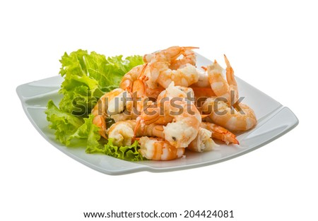 Shrimps cocktail with salad leaves - stock photo