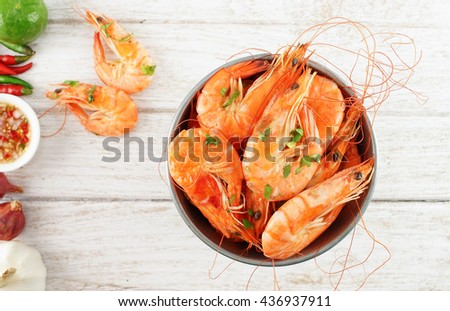 Shrimps in the zinc bucket - stock photo