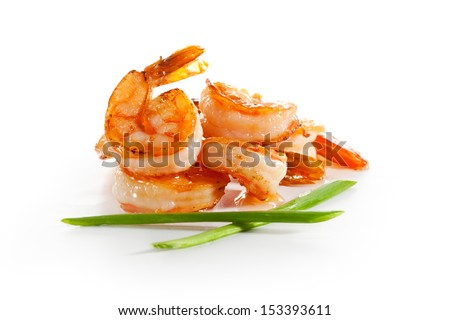 Shrimps Isolated over White - stock photo