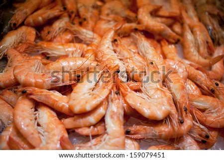Shrimps on a shop counter