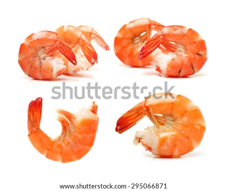 shrimps on a white background - stock photo