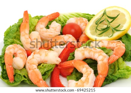 Shrimps on a white plate