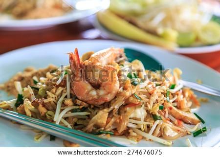 Shrimps Pad Thai (Thailand's national dishes) - stock photo