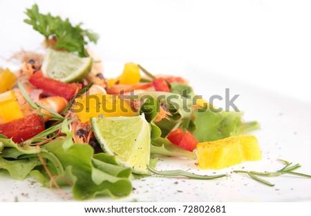Shrimps salad - stock photo