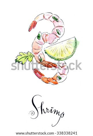 Shrimps with lime and leaf parsley, hand drawn, watercolor - Illustration - stock photo