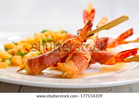 shrimps with mango salad - stock photo