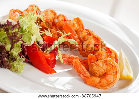 shrimps with salad - stock photo