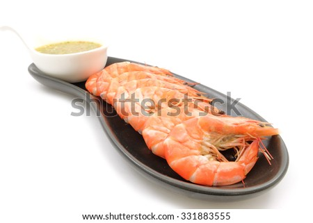 Shrimps with Seafood Sauce , Cooked, Boiled