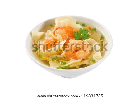 Shrimps Wonton Soup - stock photo