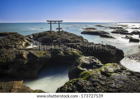 Shrine Gate, Kamiiso-no-Torii, Ibaragi, Japan - stock photo