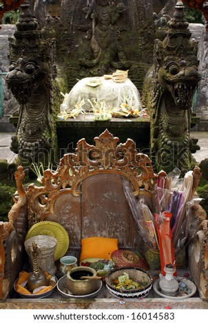 Shrine in Tirta Empul, near Ubud, bali, indonesia - stock photo