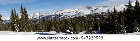 Shrine Mountain trail near Colorado's Vail Pass, winter - panoramic mountain landscape.